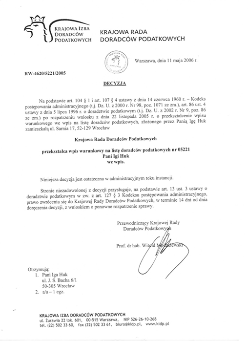 Certyfikat Kancelaria Doradcy Podatkowego Iga Huk