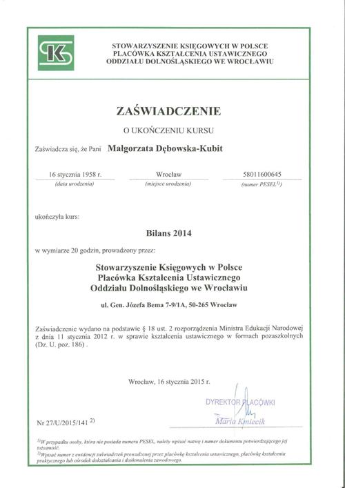 Certyfikat Rachunkowość i Doradztwo DĘBOWSKA, Małgorzata Dębowska-Kubit