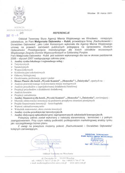 Zobacz referencje Rachunkowość i Doradztwo DĘBOWSKA, Małgorzata Dębowska-Kubit