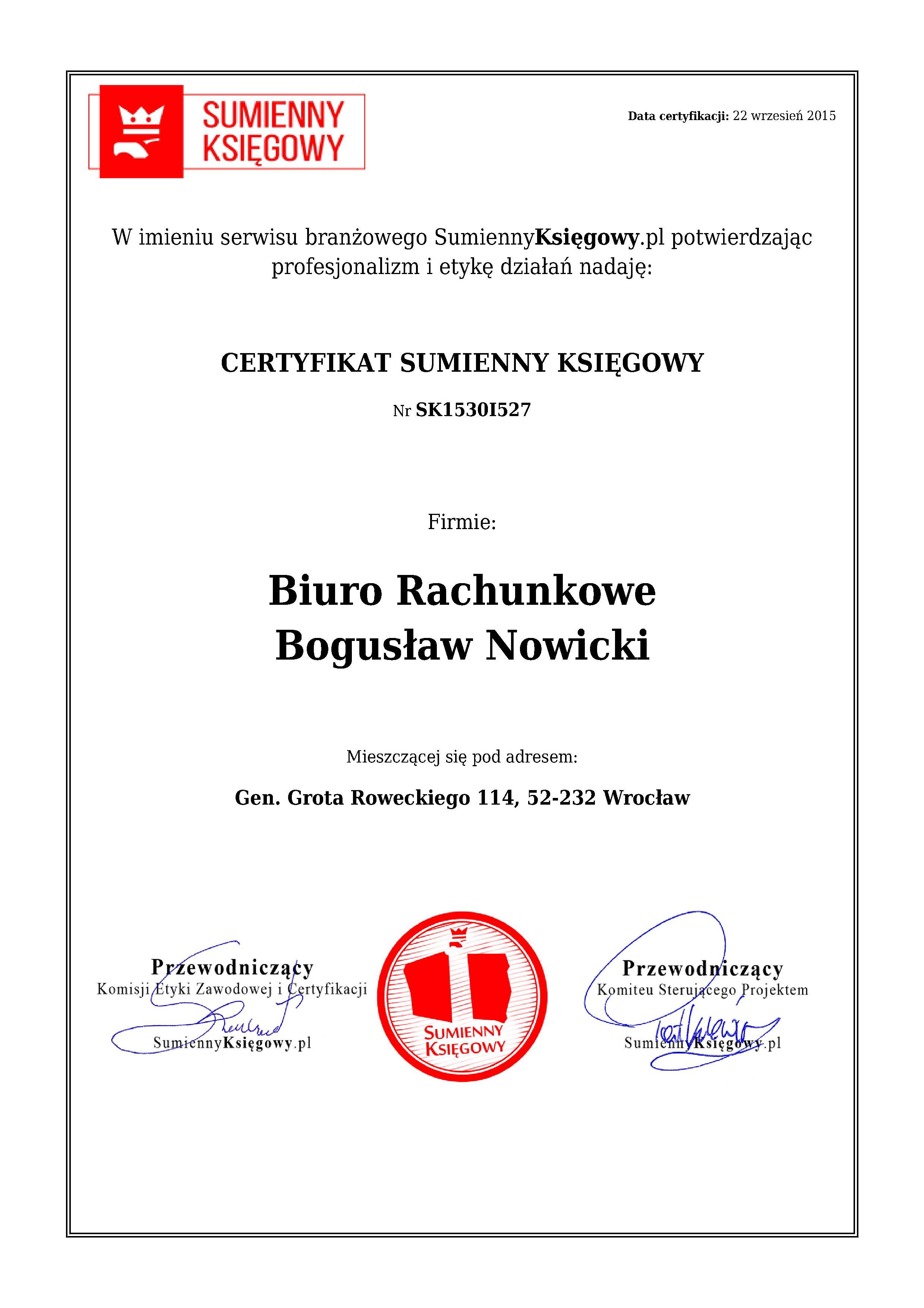 Certyfikat Biuro Rachunkowe Bogusław Nowicki