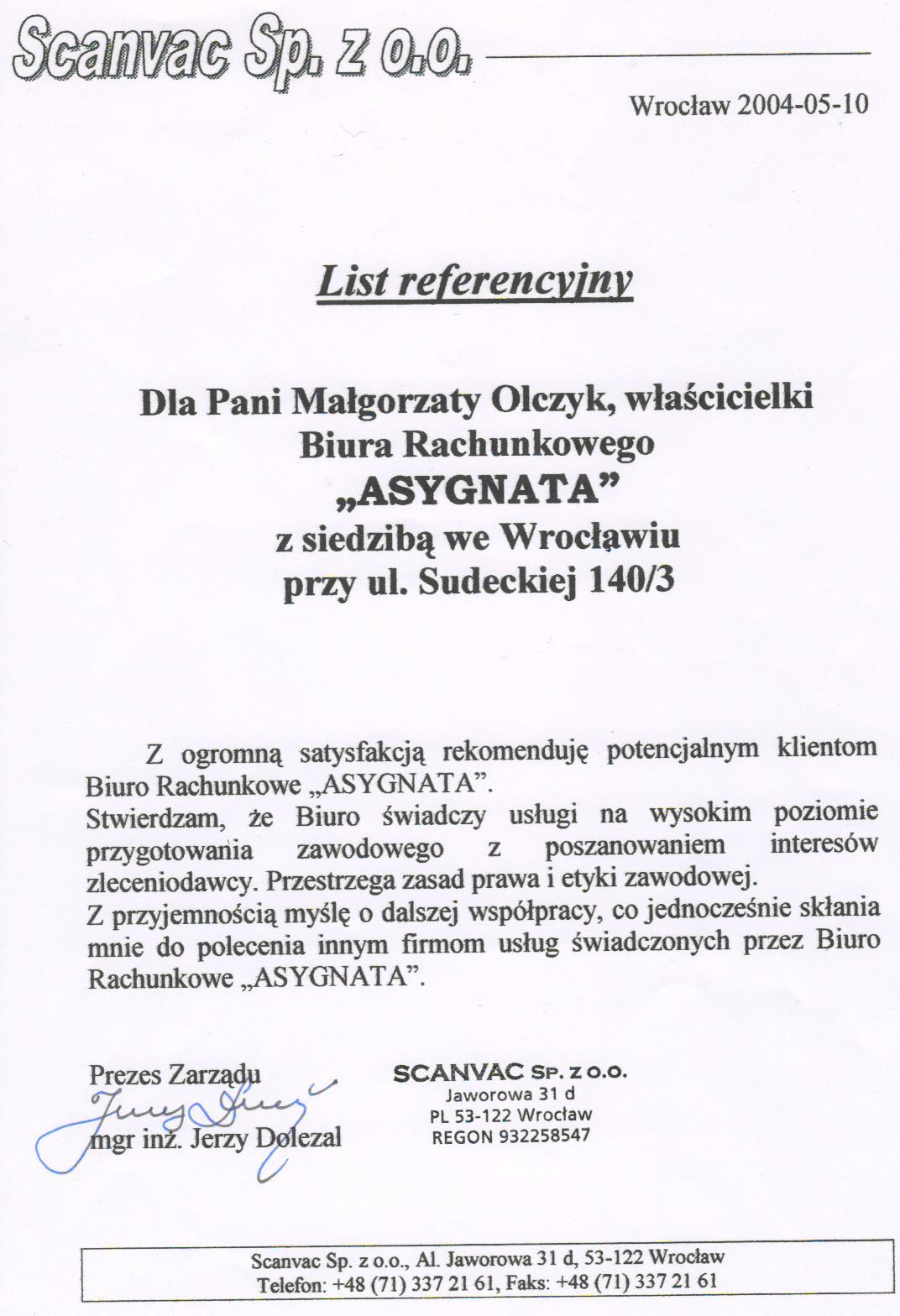 """Zobacz referencje Biuro Rachunkowe """"Asygnata"""" Małgorzata Olczyk"""