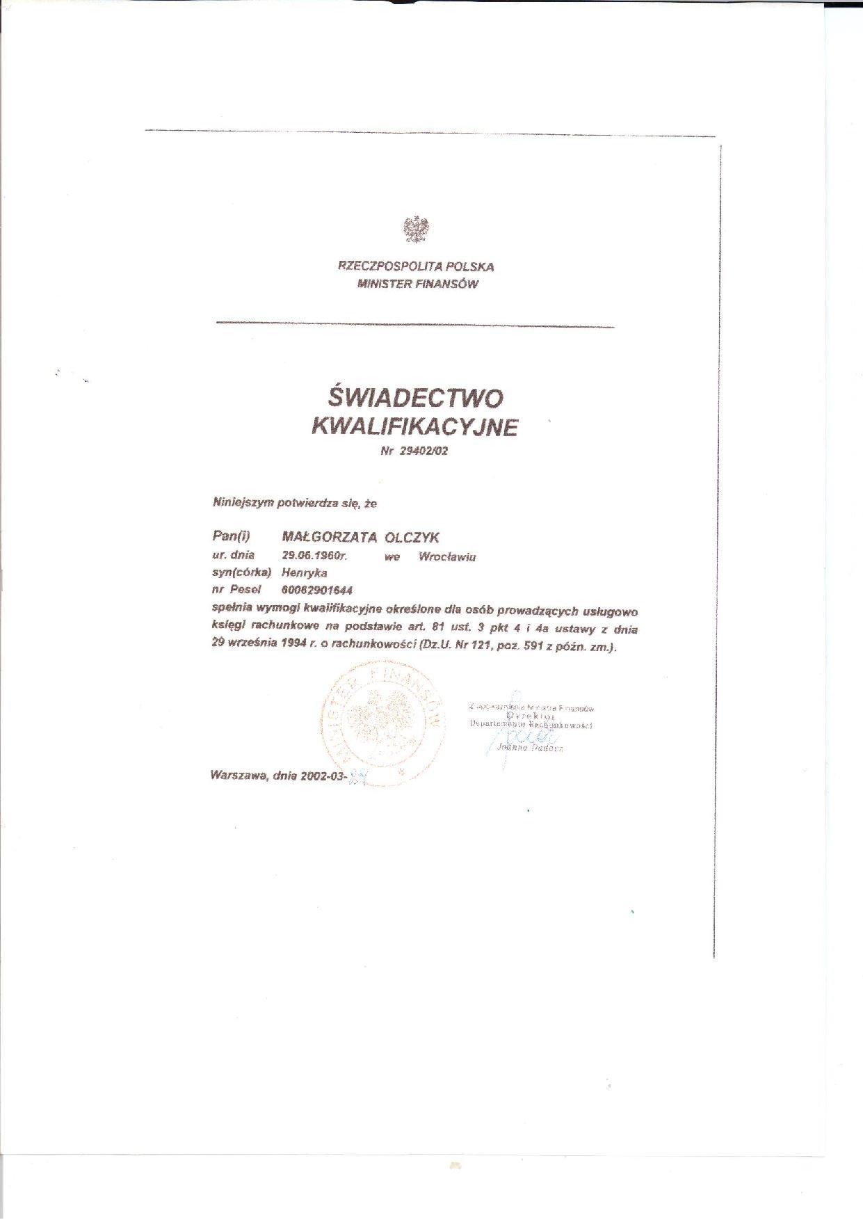"""Certyfikat Biuro Rachunkowe """"Asygnata"""" Małgorzata Olczyk"""