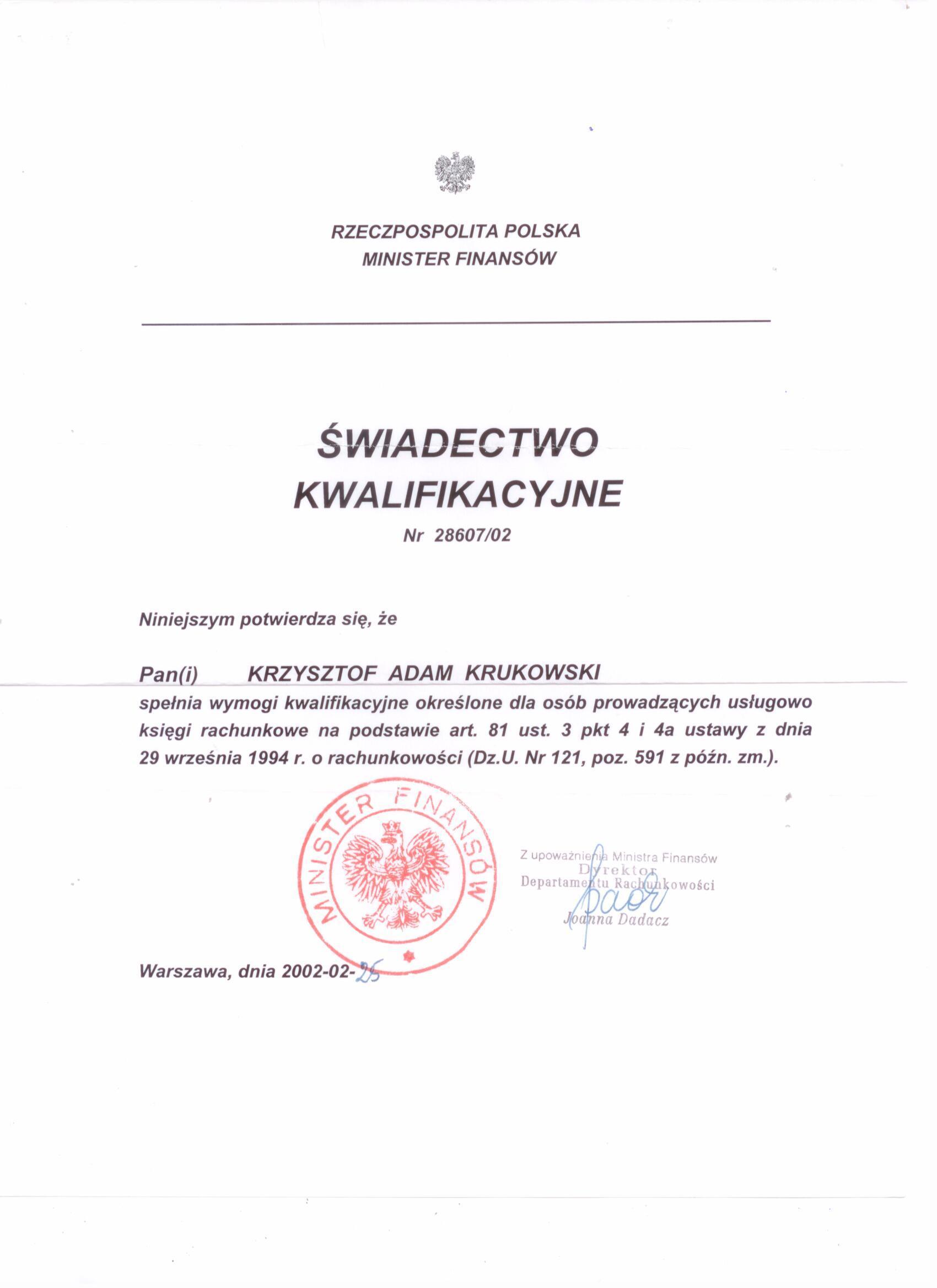 Certyfikat Kancelaria Rachunkowa Krzysztof Krukowski