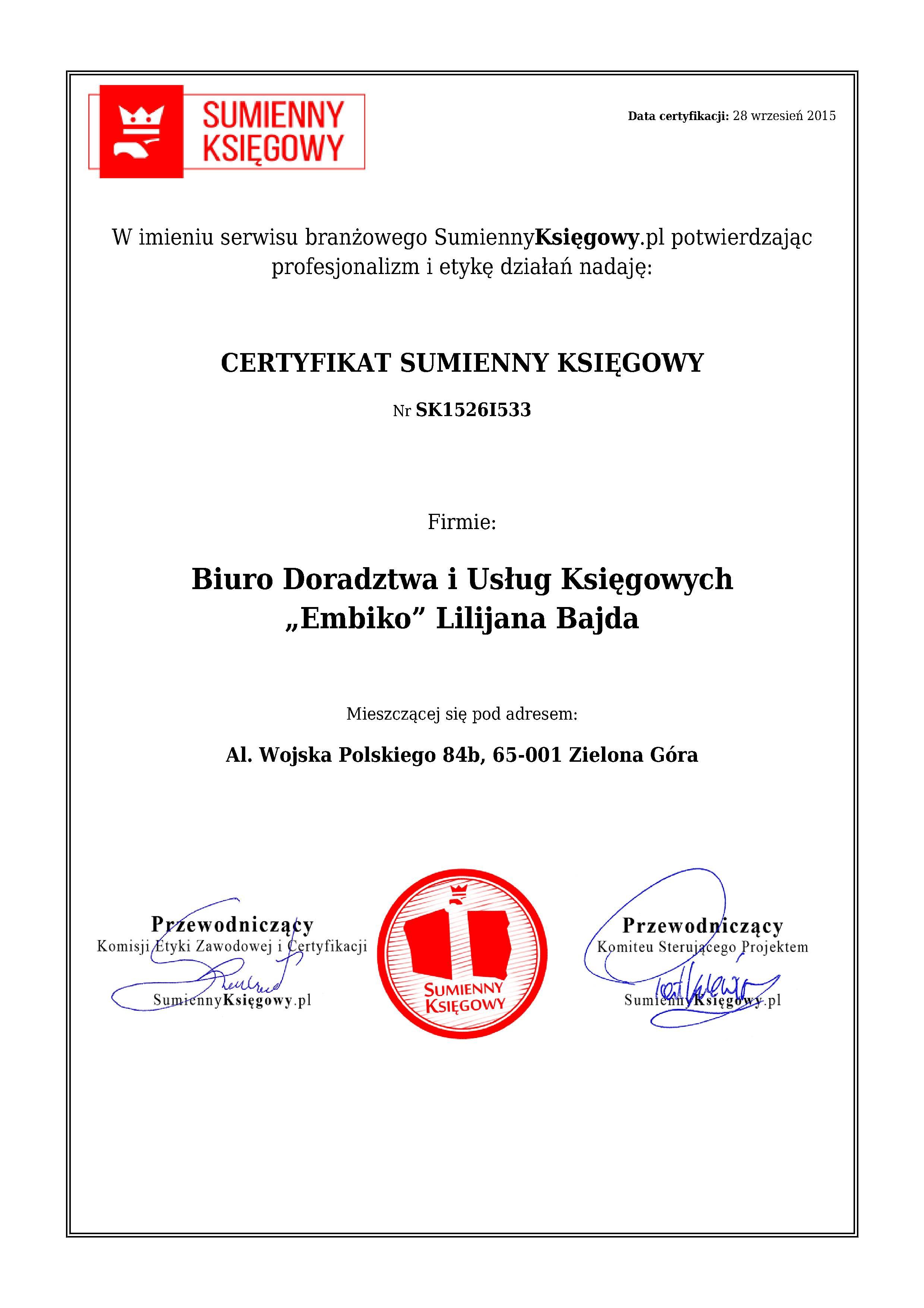 """Certyfikat Biuro Doradztwa i Usług Księgowych """"Embiko"""" Lilijana Bajda"""