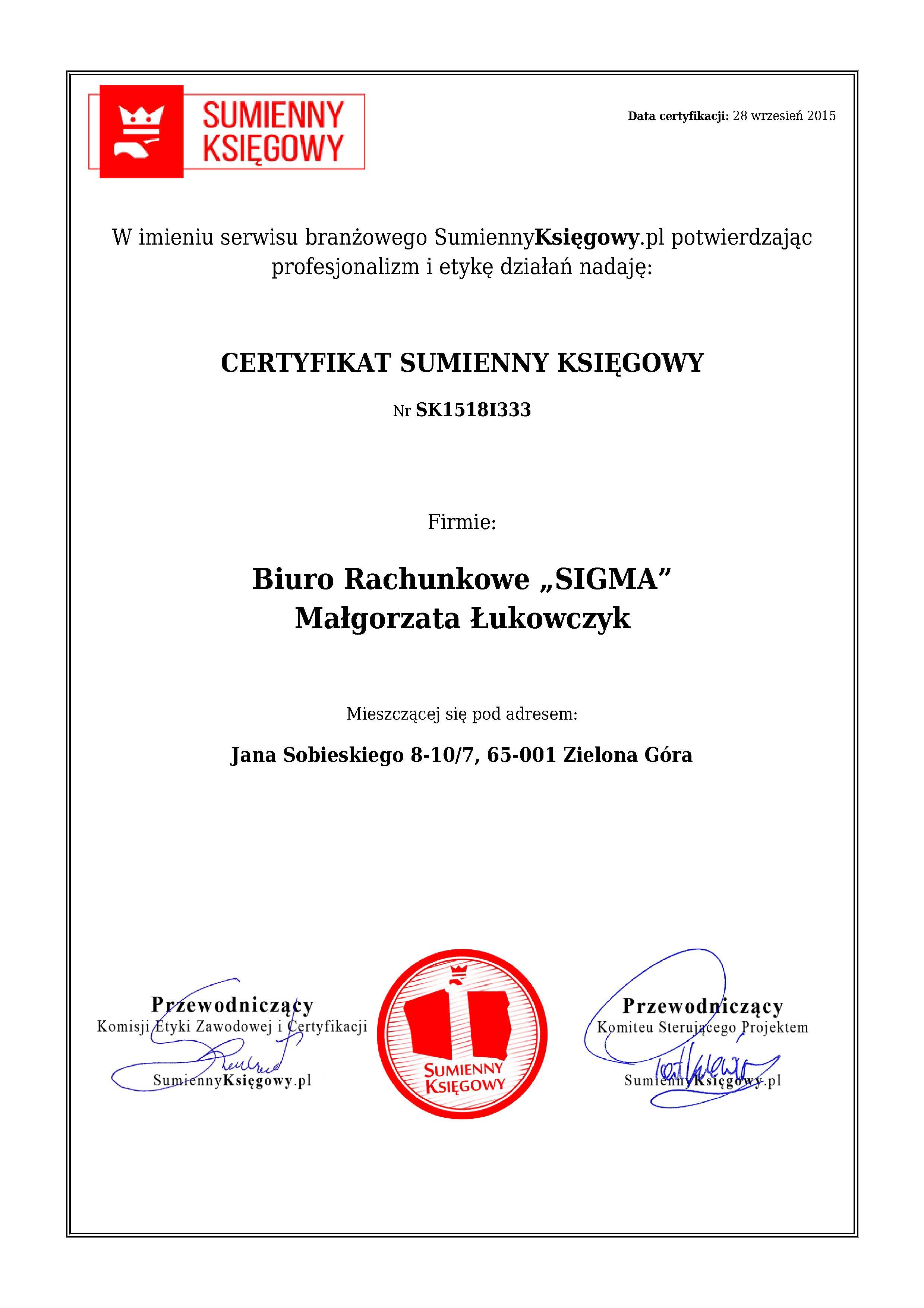 """Certyfikat Biuro Rachunkowe """"SIGMA"""" Małgorzata Łukowczyk"""