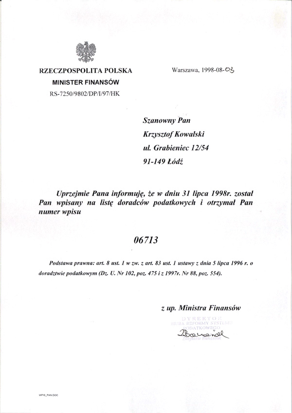 """Certyfikat """"BILANS"""" B.U.R. Krzysztof Kowalski"""