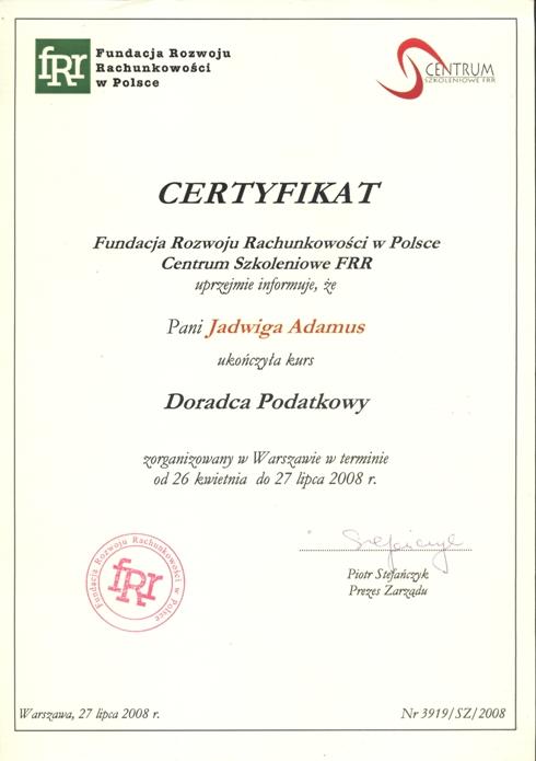 Certyfikat Abacus Jadwiga Adamus