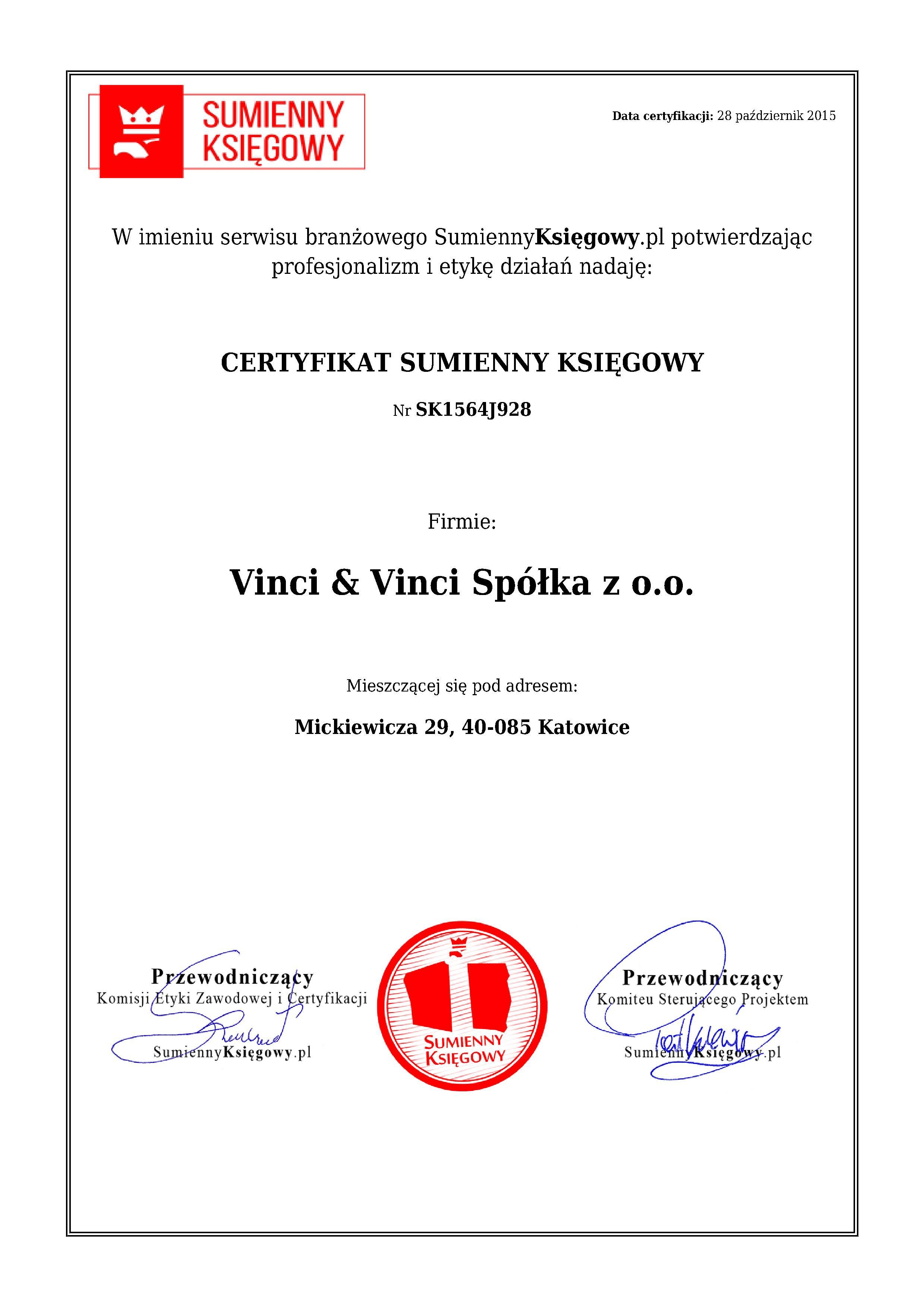 Certyfikat Vinci & Vinci Spółka z o.o.