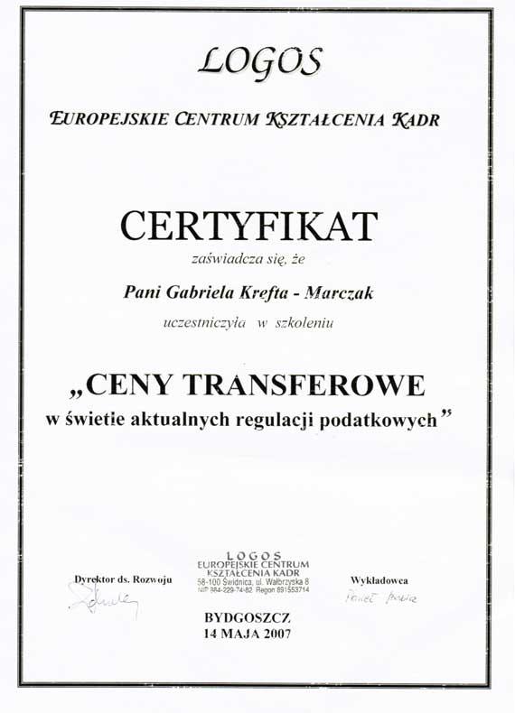 Certyfikat Gabi Biuro Rachunkowe Gabriela Krefta-Marczak