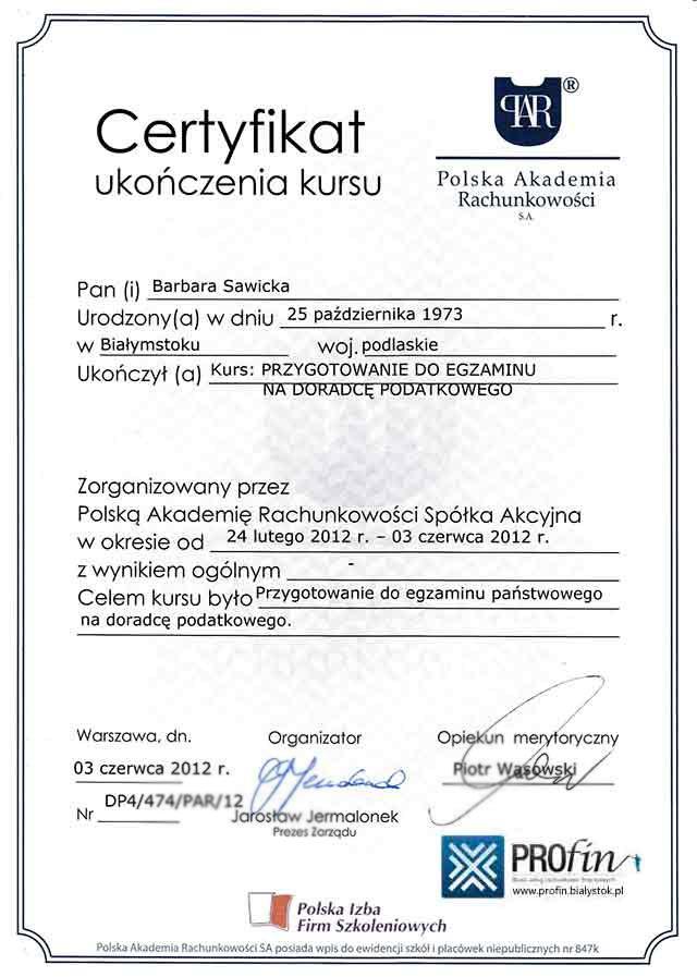 Certyfikat PROFIN Barbara Sawicka