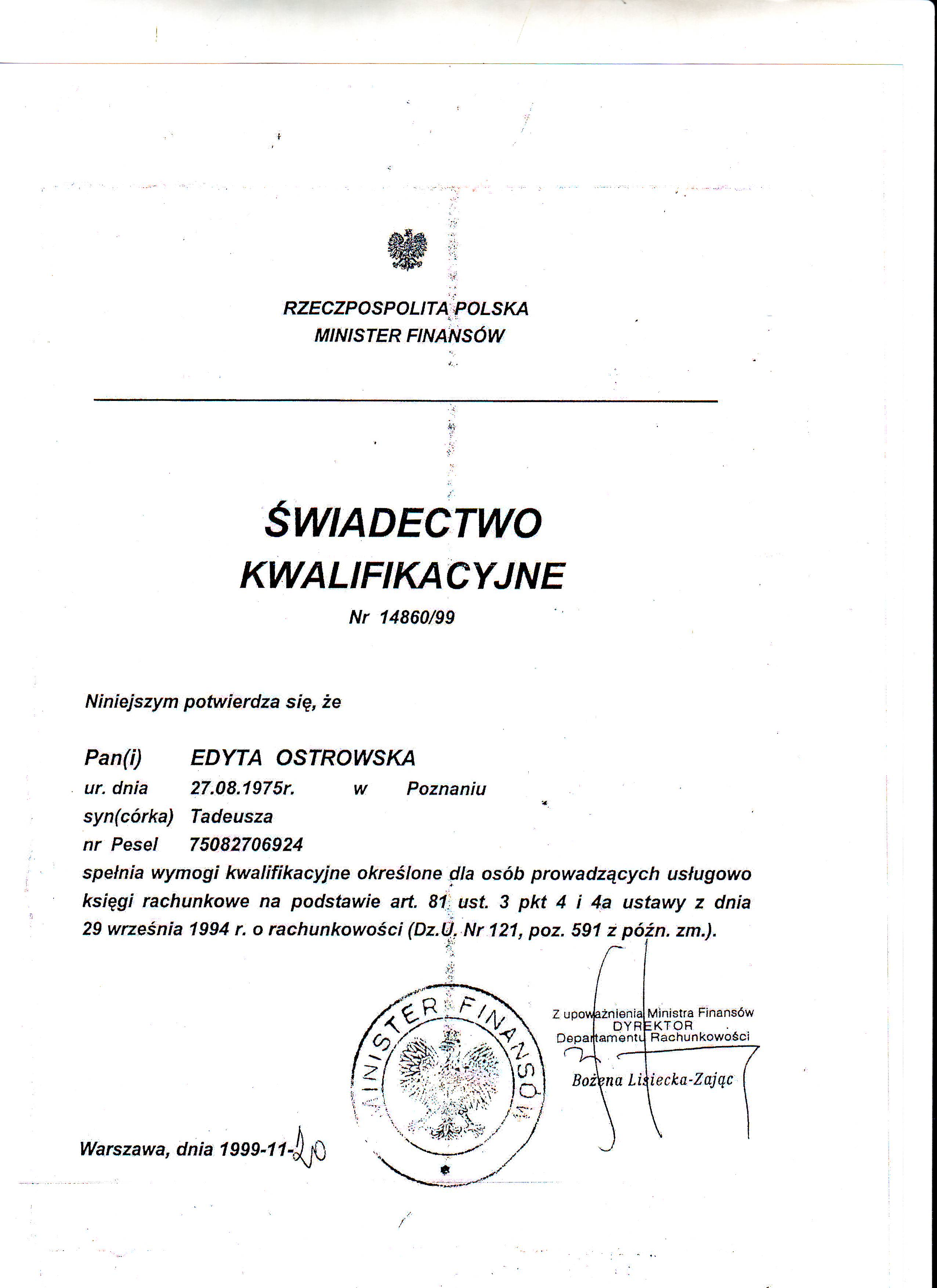 Certyfikat Con-Trust S.C. Teresa Ostrowska & Marek Ostrowski